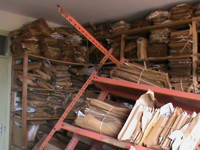 Old damaged shelves at the Thika Lands Registry