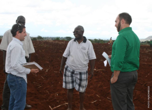 First meeting of USAID land tenure programs with Chief Nyamphande in one of his fields in December 2014 (photo by James Murombedzi).